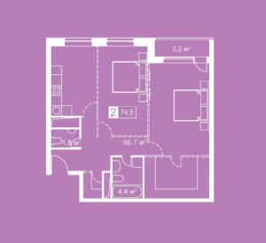 Планировка двухкомнатной квартиры в Атмосфера